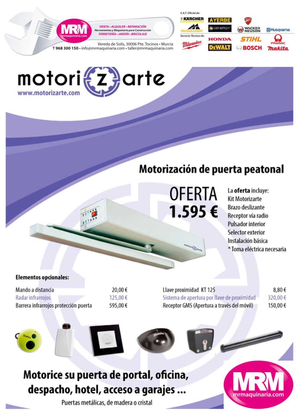 Oferta en motorización de puerta peatonal con MRM Maquinaria y Motirizarte en Alicante y Murcia